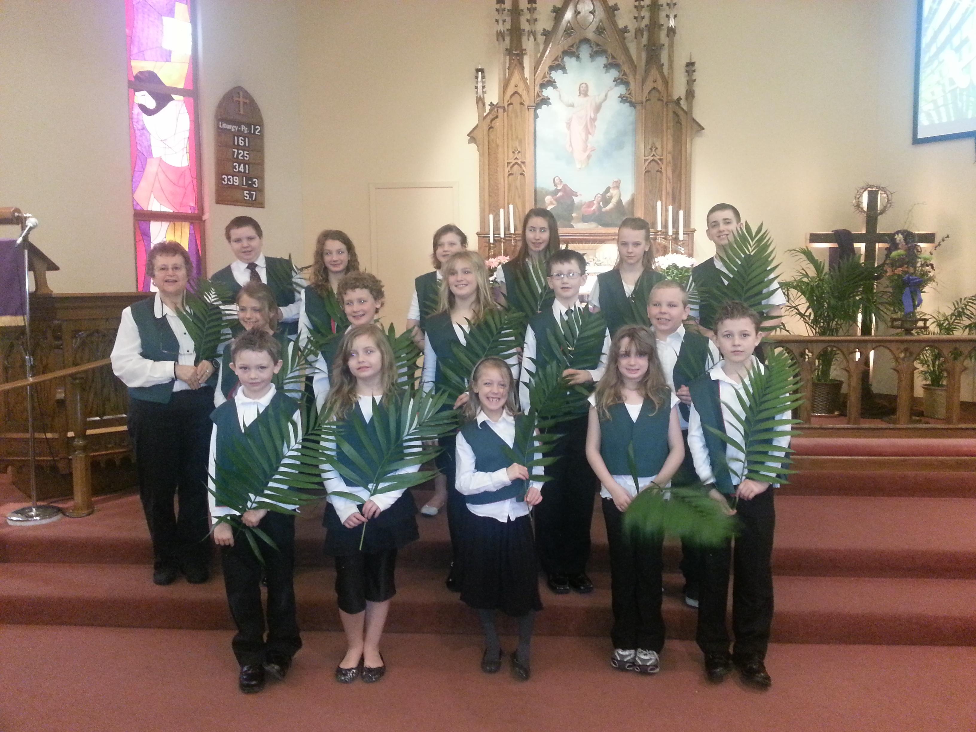 Singing at Palm Sunday Service